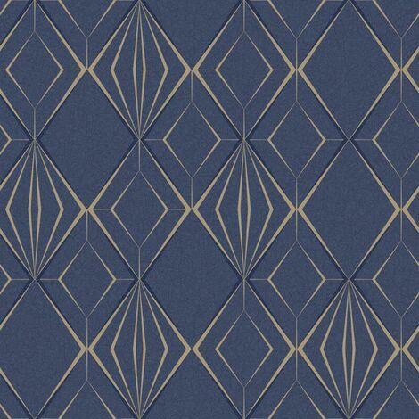 Antares Geometric Wallpaper Holden Navy Blue Gold Glitter Textured Vinyl Modern