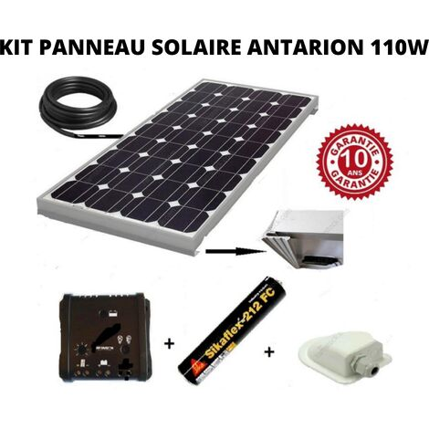 Antarion Kit panneau solaire 110w monocristallin pour camping car