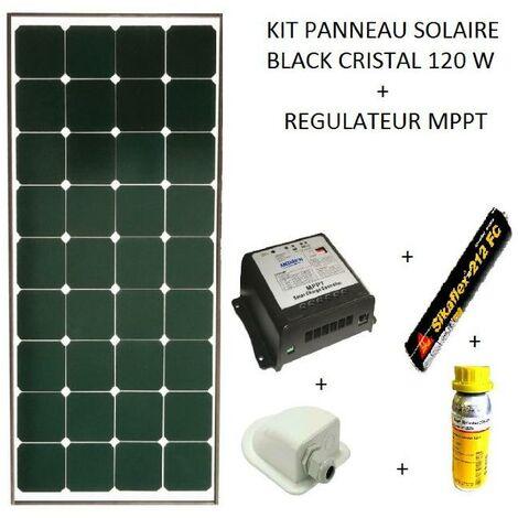 Antarion Kit panneau solaire 120w pour camping car Black booster