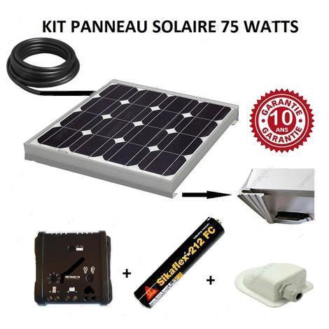 Antarion Kit panneau solaire 75w pour camping car monocristallin