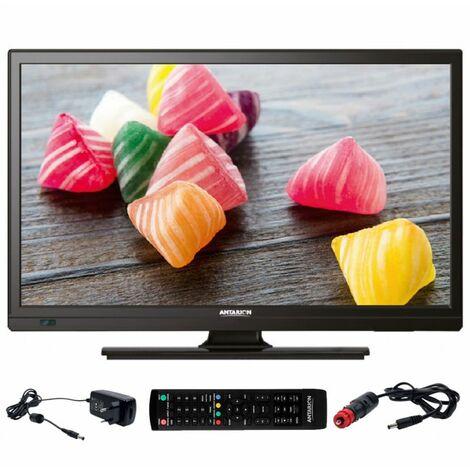 ANTARION TV1902 TV LED 19 48cm Téléviseur HD Camping car 12V Port USB DVB-T2 - Inox