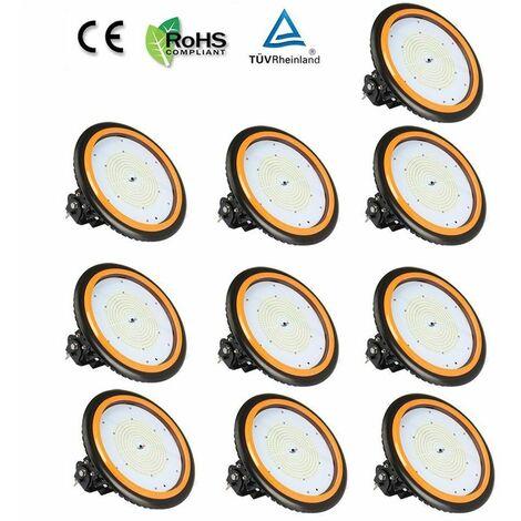 Anten 10×UFO Projecteur LED 150W Industriel Phare de Travail de Super Luminosité 22000LM Spot High Bay Étanche IP65 Lampe Extérieur de Haute Qualité Certification de CE TÜV (Blanc Froid)