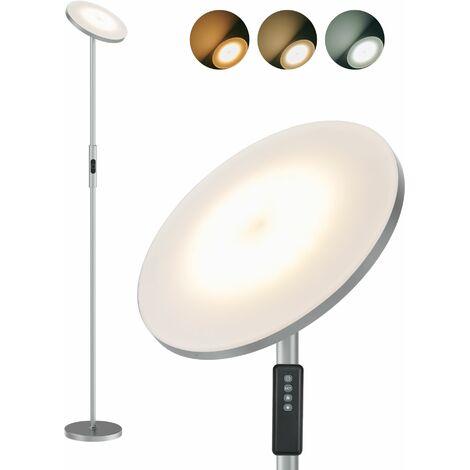Anten 18W Lampadaire led Lampe sur Pied led avec Luminosité Réglable Lampadaire Salon avec Télécommande Lampe sur Pied Chambre Lumière à Choix 3000K/4000K/5000K, Couleur Gris
