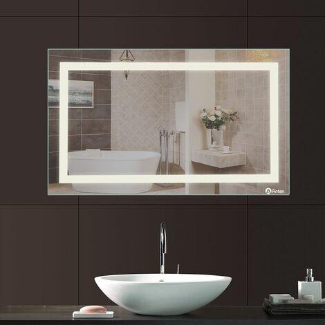 Anten 23W Miroir LED Lampe de Miroir 100×60CM Miroir Lumineux Verre Trempé Blanc Froid 6000K