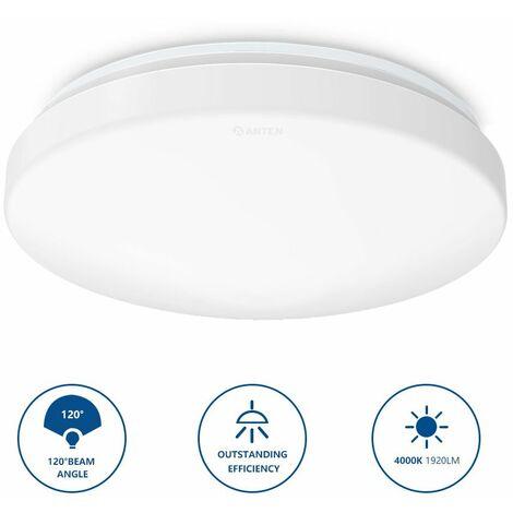 Anten 24w plafonnier led lampe ronde ip20 lumi re 1920lm anti corrosion anti poussi re pour - Lampe pour salle de bain ...