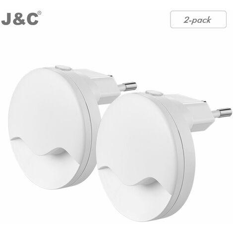 ANTEN 2PCS Enfant Veilleuse LED Dimmable Lampe de Nuit Plug-and-Play Murale Automatique et Eclairage Ajuster Luminosité pour Chambre--Blanc Nature