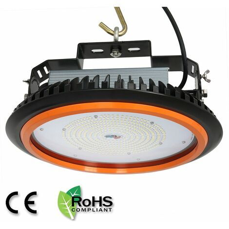Anten UFO-Projecteur LED 200W Phare de Travail Rond IP65 Haute Baie d'éclairage Suspension 26000LM Spot Lumière Extérieur et Intérieur Blanc Froid 6000K Certification CE TÜV
