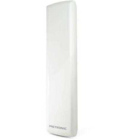 Antena interior/exterior DVB-T, UHF amplificada, filtro LTE- 4G, ganancia 36dB, para canales de TDT, para mástil o balcón, blanca, anti-corrosión