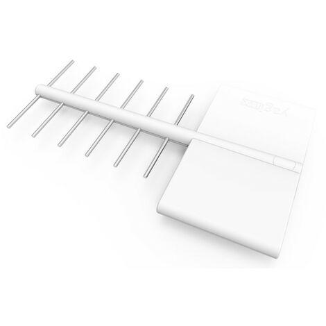 Antena TV exterior blanca NX, UHF amplificada, 44 dB con toma F, filtro 4G