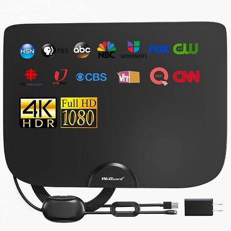 Antenne de télévision, antenne de télévision numérique haute définition amplifiée d'intérieur, amplificateur de signal de 180 milles pour chaîne locale 4K 1080p Fire TV stick, câble coaxial de haute qualité de 18 pieds