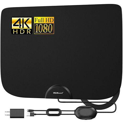 Antenne de télévision, antenne de télévision numérique haute définition amplifiée intérieure, amplificateur de signal de portée de 90 à 130 milles, adaptée aux chaînes locales Fire TV Stick 4K 1080p et à tous les téléviseurs
