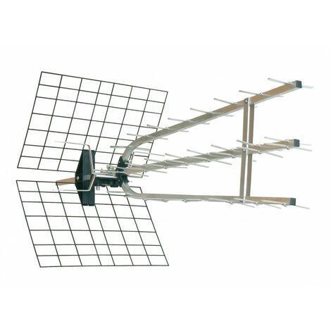 Antenne d'extérieur trinappe amplifiée 45 dB à fiche F