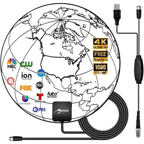 Antenne intérieure, amplificateur de signal d'antenne TV numérique HD 150+ miles Réception à 360 ° Antenne numérique 4K 1080p, chaînes de télévision locales claires, prise en charge VHF UHF et -10 pieds de câble coaxial pour tous les téléviseurs