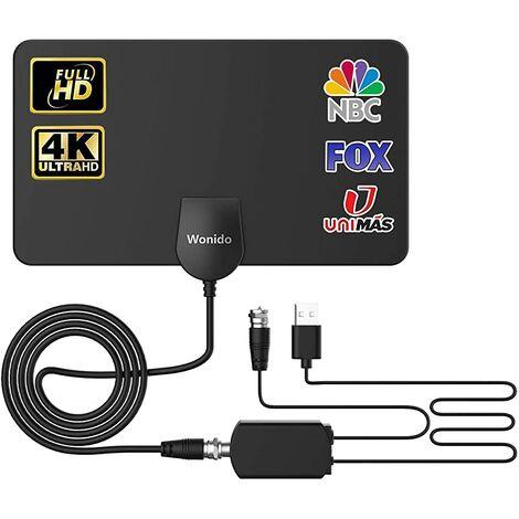 Antenne numérique TV intérieure Wonido, antenne amplifiée Smart TV longue distance de 100 miles, avec amplificateur de signal HD 4K 1080P chaînes locales gratuites et 13 pieds de câble coaxial…