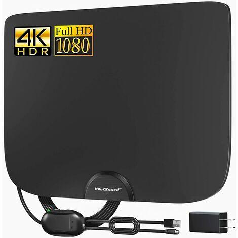 Antenne TV, antenne TV HD amplifiée intérieure pouvant atteindre une portée de 180 miles, prise en charge du canal local UHF VHF HD 4K 1080P, amplificateur de signal d'amplificateur et câble coaxial de 18 pieds