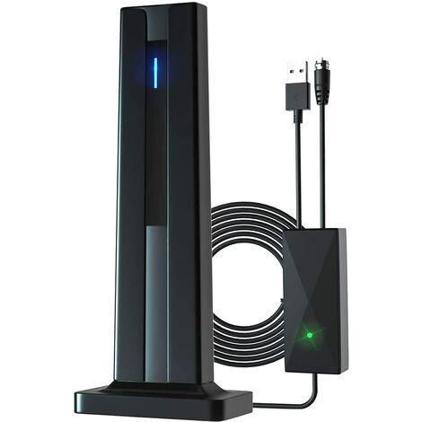 Antenne TV, antenne TV numérique HD intérieure amplifiée, amplificateur de signal de portée de 130 milles, adaptée aux chaînes locales Fire TV Stick 4K 1080p et à tous les téléviseurs