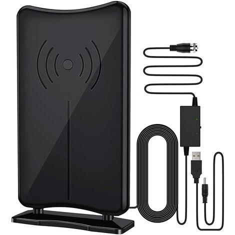 Antenne TV haute définition, antenne TV numérique intérieure haute définition amplifiée FiveVG réception longue distance 160 miles, avec amplificateur de signal amplifié, prend en charge les chaînes locales 4K HD UHF VHF, équipée de 16,5 pieds de câble co