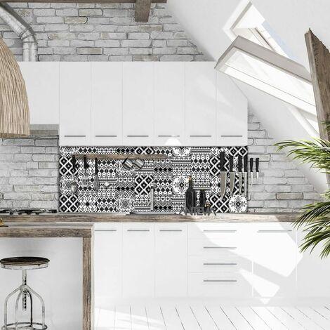 ANTEVIA - Lot de 10 – Carrelage adhésif mural 15x15 cm | Sticker carré autocollant mosaïque carreaux de ciment scandinave metro (Carreau de ciment 07)