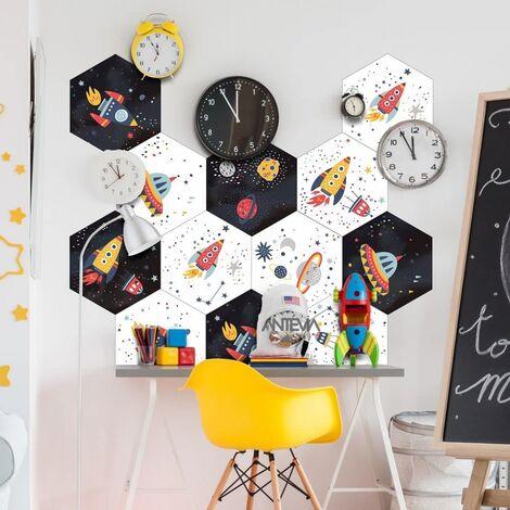 ANTEVIA - Lot de 10 – Carrelage adhésif mural et sol 23x20 cm | Sticker hexagone autocollant mosaïque carré carreaux de ciment scandinave metro (Espace 01)