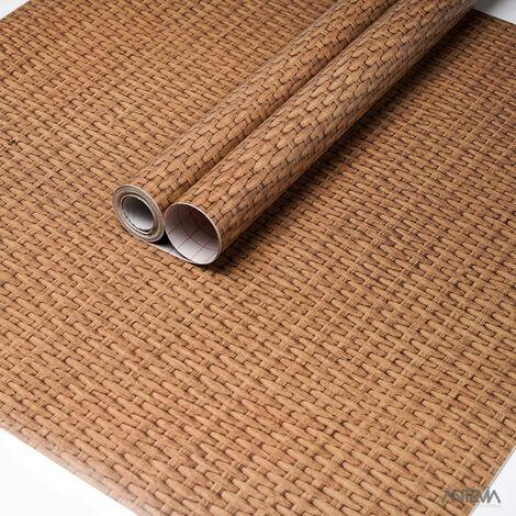ANTEVIA - Papier Adhésif pour meuble mur - 45cm x 500cm | Sticker Autocollant Film adhésif Naturel Papier peint (Bois tresse 1) - Bois tresse 1