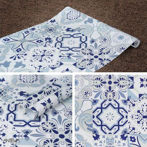 ANTEVIA - Papier Adhésif pour meuble mur - 45cm x 500cm | Sticker Autocollant Film adhésif Naturel Papier peint (Carreaux de ciment Bleu) - Carreaux de ciment Bleu