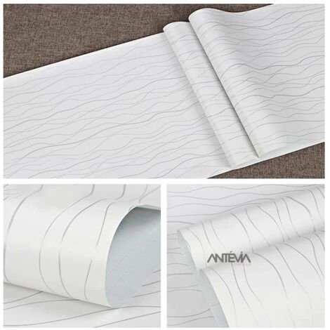 ANTEVIA - Papier Adhésif pour meuble mur - 45cm x 500cm | Sticker Autocollant Film adhésif Naturel Papier peint (Géométrique Blanc) - Géométrique Blanc