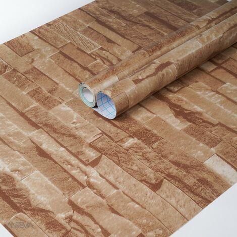 ANTEVIA - Papier Adhésif pour meuble mur - 45cm x 500cm | Sticker Autocollant Film adhésif Naturel Papier peint (Parement en pierres Marron clair)