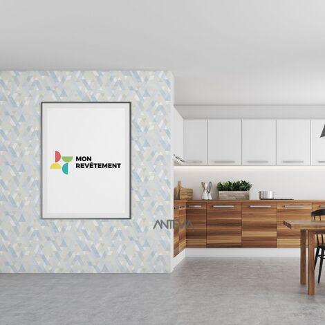 """main image of """"ANTEVIA - Papier peint intissé   Tapisserie chambre cuisine salon décoration tenture (Triangle rayé bleu)"""""""