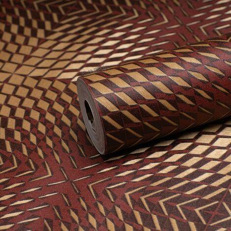 ANTEVIA - Papier peint Vinyle | Tapisserie chambre salon cuisine décoration tenture (Carré destructuré rouge)