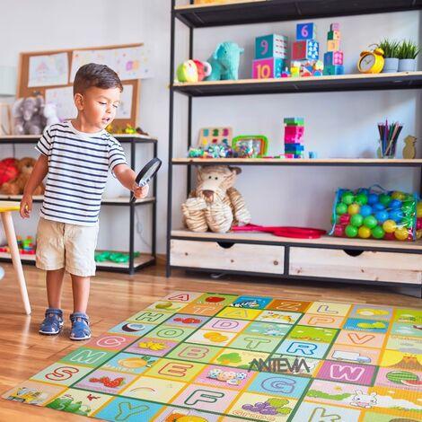 ANTEVIA – Tapis de sol en mousse sans BPA | Dalle clipsable protection jeux sport enfant bébé gym souple (Modèle alphabet fruit)