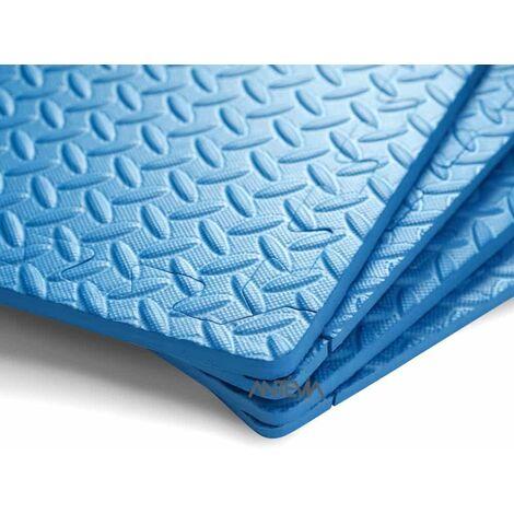 ANTEVIA – Tapis de sol en mousse sans BPA | Dalle clipsable protection jeux sport enfant bébé gym souple (Modèle cranté bleu)