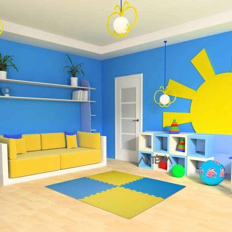 ANTEVIA – Tapis de sol en mousse sans BPA | Dalle clipsable protection jeux sport enfant bébé gym souple (Modèle croisillons bi jaune bleu)