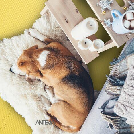 ANTEVIA – Tapis de sol en mousse sans BPA | Dalle clipsable protection jeux sport enfant bébé gym souple (Modèle croisillons jaune)