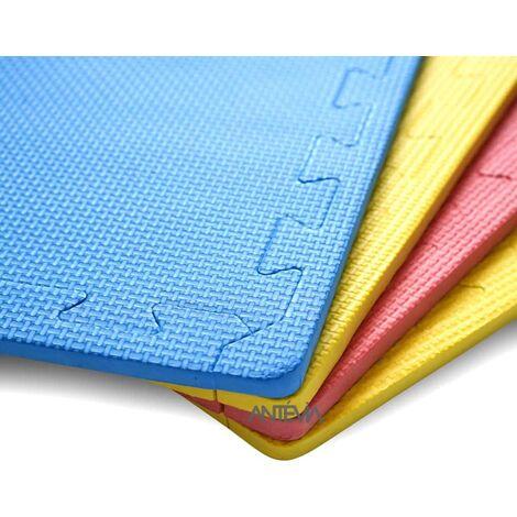 ANTEVIA – Tapis de sol en mousse sans BPA | Dalle clipsable protection jeux sport enfant bébé gym souple (Modèle croisillons multi bleu jaune rouge)