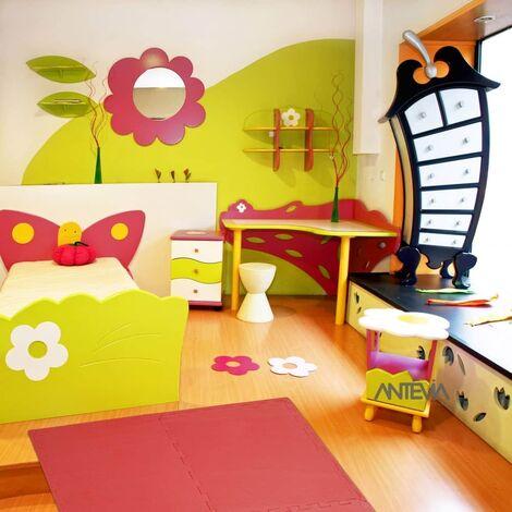 ANTEVIA – Tapis de sol en mousse sans BPA | Dalle clipsable protection jeux sport enfant bébé gym souple (Modèle croisillons rouge)