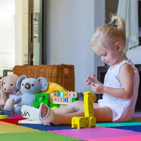 ANTEVIA – Tapis de sol en mousse sans BPA | Dalle clipsable protection jeux sport enfant bébé gym souple (Modèle small multi unis)
