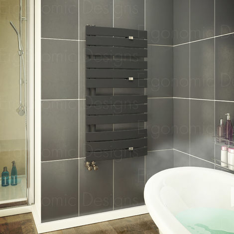 Anthracite 1080 X 550mm Flat Panel Bathroom Towel Rail Radiator