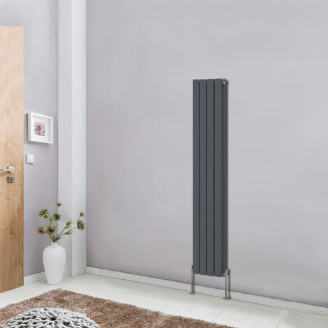 Anthracite Designer Vertical Column Radiator Modern Bathroom Heater 1600x272 Central Heating Double Flat Panel