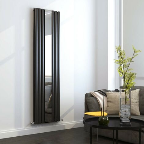 Anthracite Double Panel Designer Radiator With Mirror 499mm x 1800mm