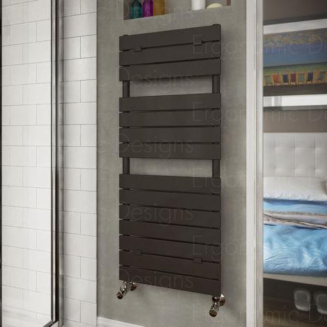 Anthracite Heated Bathroom Towel Rail Radiator 1213 X 500 Flat Panel