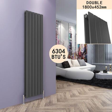 "main image of ""Anthracite Vertical Radiator Designer Double Oval Column Radiators Bathroom Flat Panel 1800 x 452mm"""