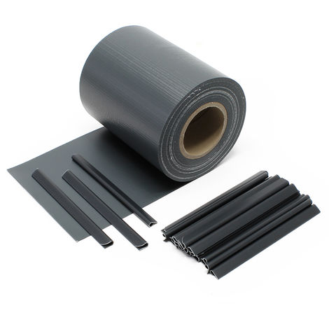 Anthracute Garden Fence Roll 35 m x 19 cm, made of 650 g/m² PVC with 20 Clips