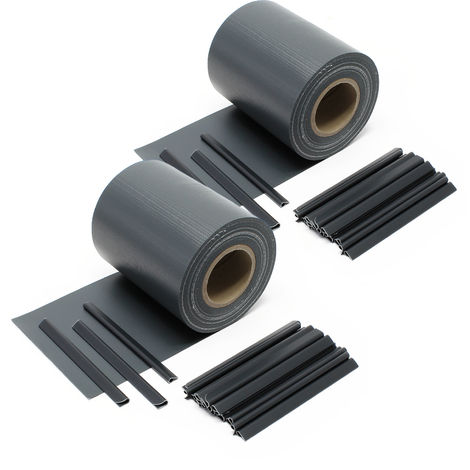 Anthracute Garden Fence Roll 70 m x 19 cm, made of 650 g/m² PVC with 40 Clips