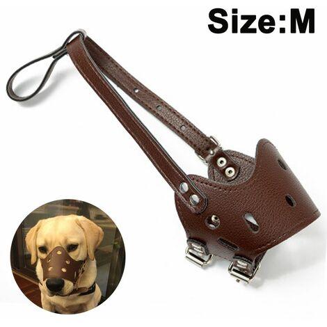 Anti-Biss Anti-Verschlucken PU-Leder Hundemündung Hund Hund Maulkorb Rindenkontrolle für mittlere und große Hunde Braun M.