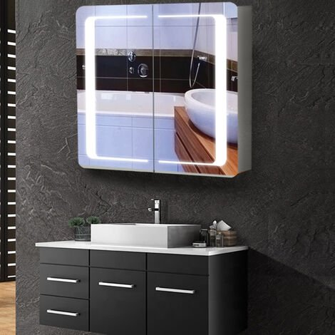 Anti-fog Bluetooth Speaker Wall Mounted Mirror Cabinet, Touch Control Switch with CE Driver,LED Illuminated Bathroom Mirror with Shaver Socket