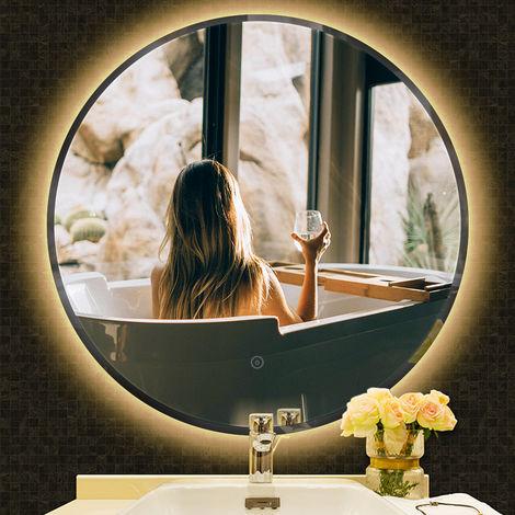 Anti-Fog Rund Badspiegel Wandspiegel Badspiegel Warmweiß Kante Abgeschrägte