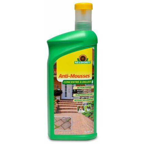 Anti mousse concentré allées, terrasses, murs, toitures. 1 litre à di