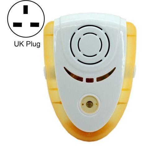 Anti Moustique Répulsifs jaune 6W Électronique ultrasonique anti-moustiques de d'insecte de rat de avec la lumière, prise BRITAN