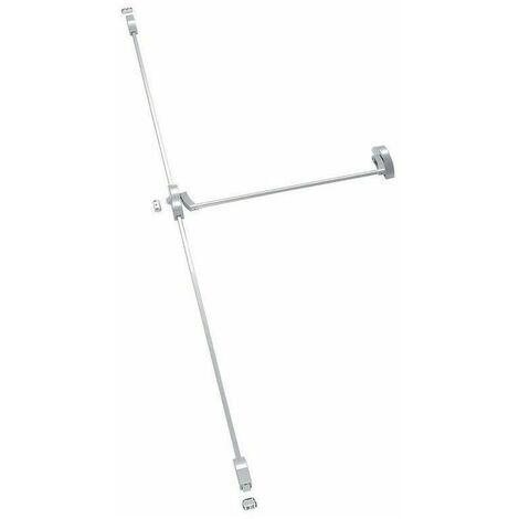 Anti-panique Bar One, 2/3 points haut et bas, longueur 910 mm, coupe feu, argent