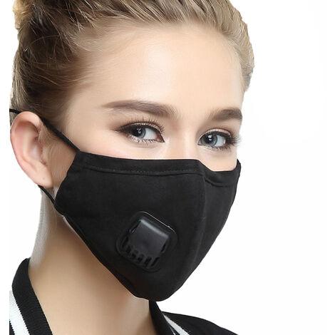 Anti Pm2,5 Pollution Poussiere Masque De Filtre A Air Masques Bouche Chaude Appareil Respiratoire Avec Filtre Remplacable, Femmes, Noir